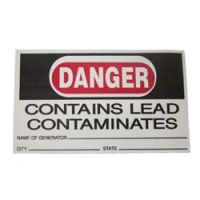 Danger Lead contamination stickers